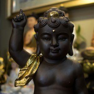 tượng đản sanh gốm tử sa dát vàng