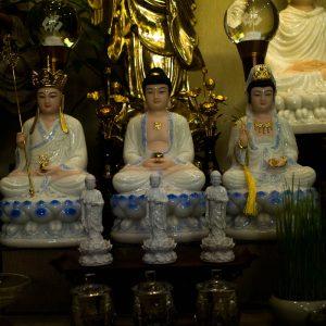 Ta Bà Tam Thánh Phật Thích Ca Quan Âm Bồ Tát Địa Tạng Bồ Tát