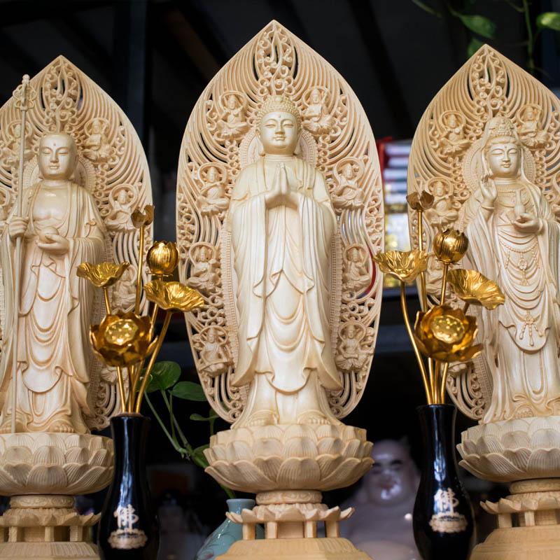 Tượng Ta Bà Tam Thánh Bằng Gỗ