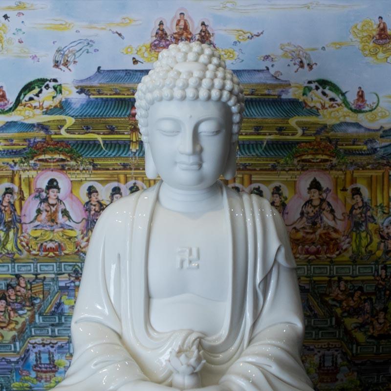 Tượng Phật A Di Đà Men Sứ