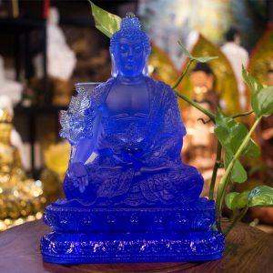Tượng Phật Dược Sư Lưu Ly Bằng Đá Lưu Ly Y Áo Hoa Văn