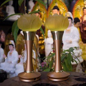 Đèn Hoa Sen Lưu Ly Chân Đồng
