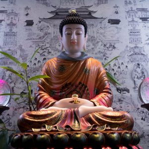 Tượng Phật A Di Đà Vẽ Gấm